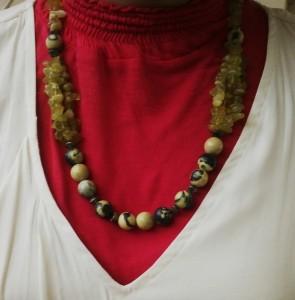 kalung batu hijau loreng + kerikil